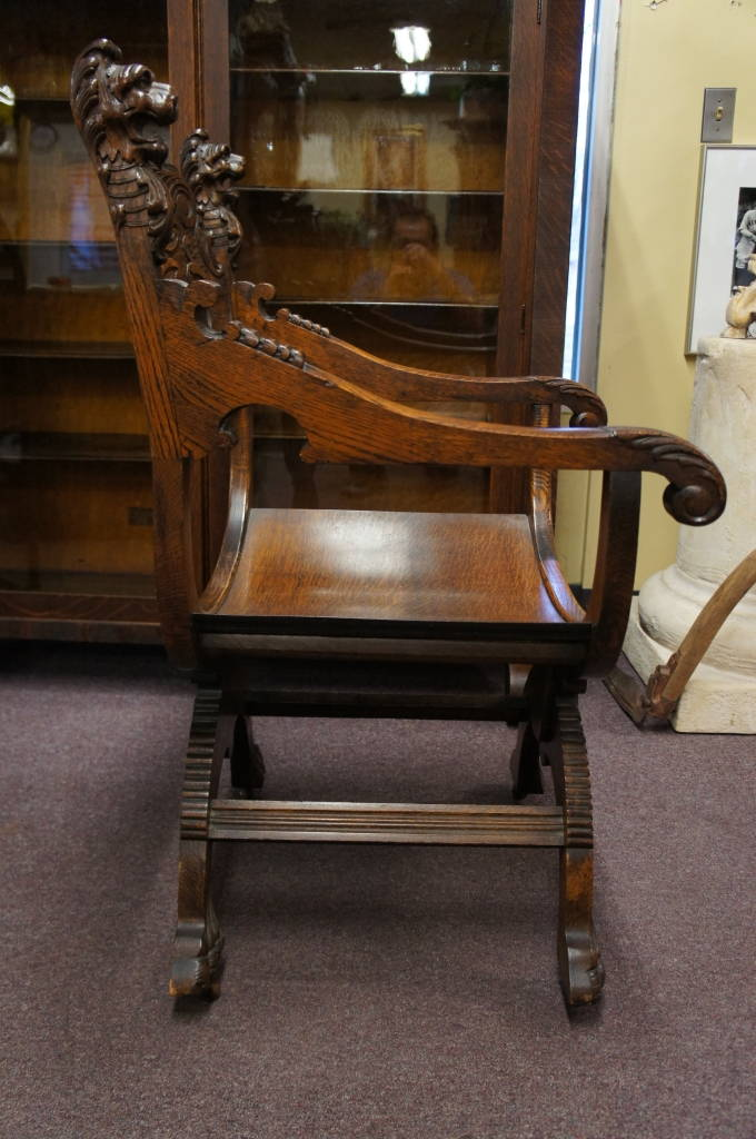 Antique Gothic Revival Oak Saddle Seat Bishop Chair Thrones Lion Heads  Casters1099