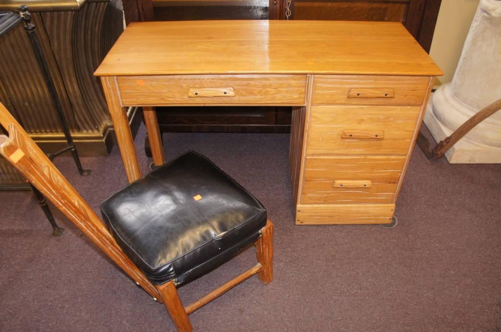 Vintage A Brandt Ranch Oak Student Desk Ladderback Chair Western Modern Mcm