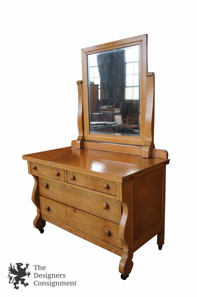 Birdseye Maple Antique Empire Style Bedroom Dresser W Mirror Early 20th Century