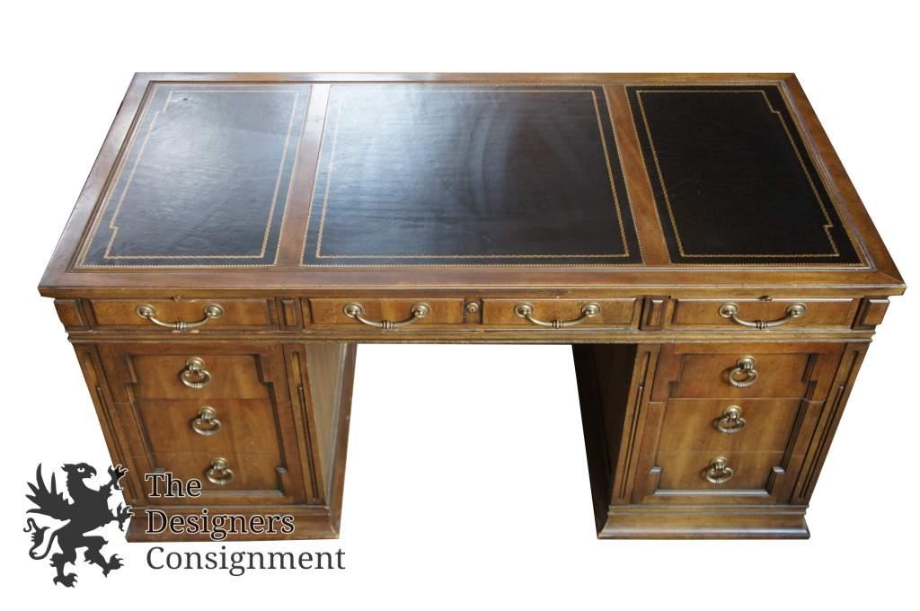 1 Rare Black Top 7 Drawer Sligh Furniture Lawyer Desk 60 X 30