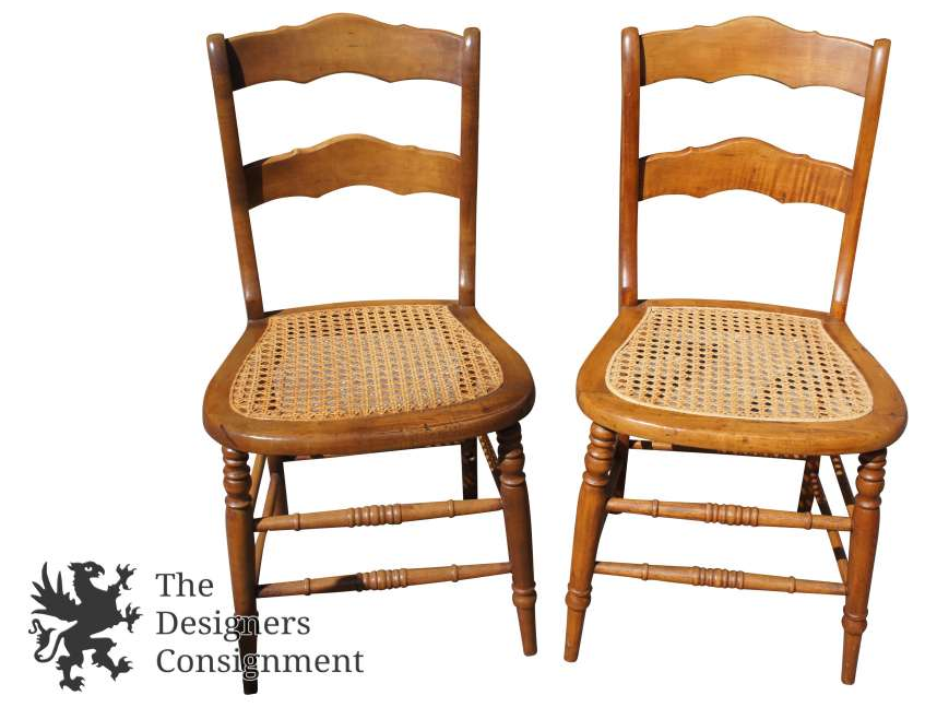 2 Antique Maple Ladder Back Cane Seat Side Chairs Turned Spindle Leg  Scalloped - The Designers Consignment Dayton's Premier Consignment Gallery