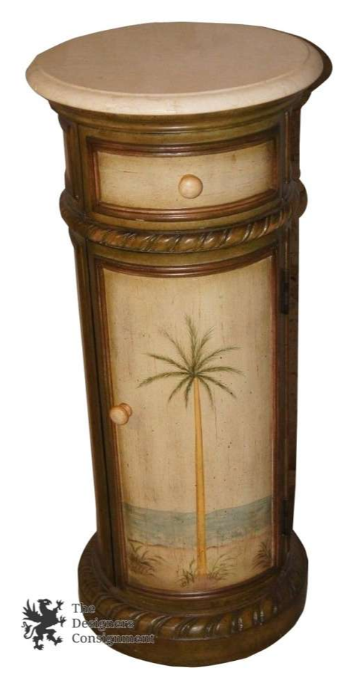 Beautiful Hand Painted Drum Table Cabinet W Palm Tree Florida Beach Stone Top