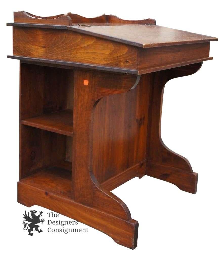 High Quality Vintage Pine Davenport Style Captains Desk Slant Top W/ Side Storage Mid  Century