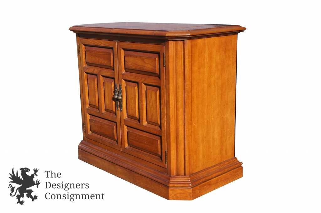 Vintage Stanley Furniture Walnut Flip Top Buffet Sideboard Cabinet Credenza