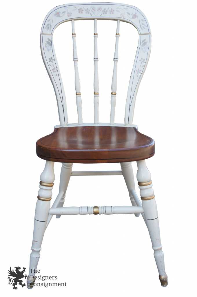 Ethan Allen Hitchcock Style Stenciled Accent Chair White U0026 Maple 14 6301