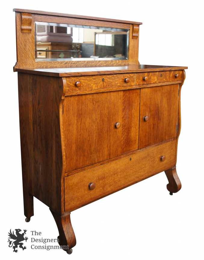 Rockford Superior Antique Mission Tiger Oak Mirrored Buffet Sideboard Server