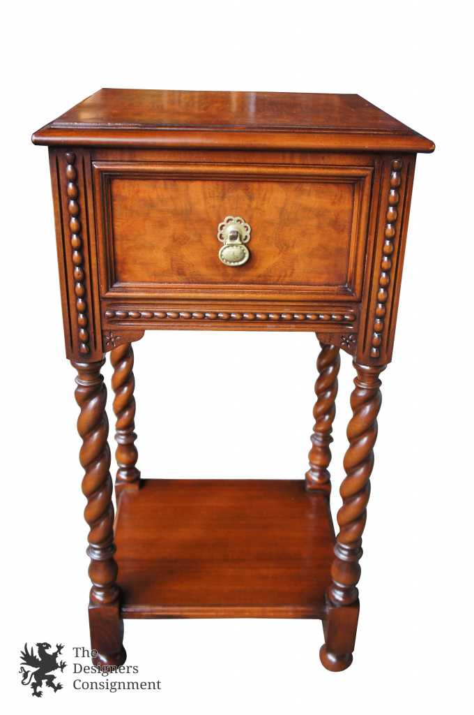 Robert Irwin Furniture Antique Jacobean Revival Walnut Bedside Table  Nightstand - The Designers Consignment Dayton's Premier Consignment Gallery