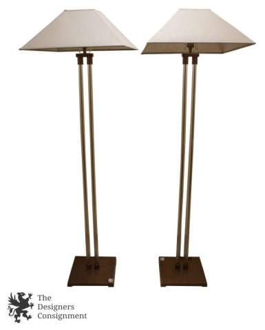 The designers consignment daytons premier consignment gallery 2 restoration hardware twin french column low floor lamps tapered square shade mozeypictures Image collections